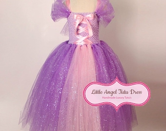 DELUXE Tangled Rapunzel Tutu Dress - Handmade Princess Dress - Birthday Party - Tangled Fancy Dress - Tangled Costume - Princess Rapunzel