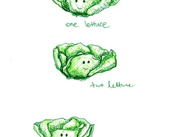 Vegetable Art Print - Lettuce - A4 Print - Kitchen Wall Art - Happy Vegetables - Childrens Wall Art - Nursery Art