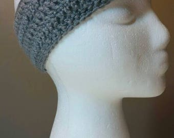 Grey Crocheted Earwarmer