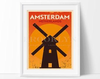 Amsterdam Print, Netherlands Vintage Travel City Illustration, City Poster, City Print, Retro Poster, Vintage Travel Art Print, Not Framed