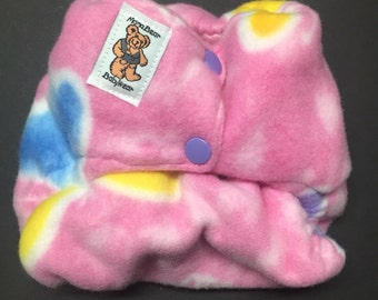 MamaBear One Size Fleece Diaper Cover - Multi-Butterflies on Pink