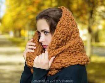 Hand Knit  Scarf, Loop Scarf, Chunky Knit Scarf, Wool Scarf, Oversized Knitting, Handmade Scarf, Infinity Scarf, Long Scarf Neck Wrap Warmer
