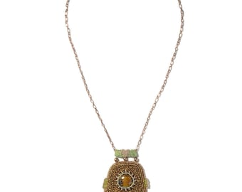 Bead Embroidered Pendant on Long Copper Chain