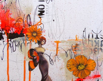 Morning Glory-orange art small art original art collage mixed media urban graffiti angel fairy couture daisy painting