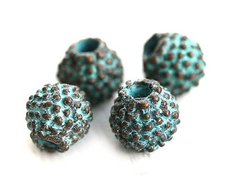 8mm Rustic dotty round metal beads, Verdigris Patina on copper, beads with dots, mykonos Greek beads, Lead Free - 4Pc - F194