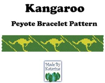 Peyote Pattern - Kangaroo - INSTANT DOWNLOAD PDF - Peyote Stitch Bracelet Pattern - Two Drop Even Peyote - Australia Kangaroo Pattern