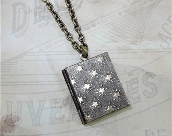 Book Locket Star Locket Celestial Locket Jewelry Gift