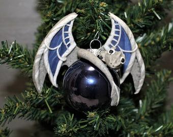 Grey Dragon Christmas Ornament Polymer Clay