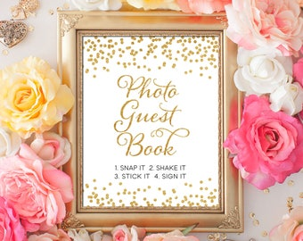 Printable Wedding sign Confetti Photo Guest Book 8x10 Gold Glitter Confetti Guest photo book Sign DIY Wedding poster INSTANT DOWNLOAD 300dpi