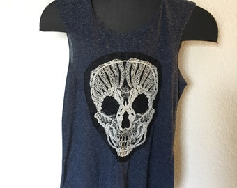 Lace Skull Blue Tank Top