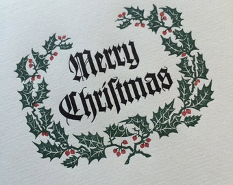 "Hand-Set Letterpress ""Merry Christmas"" Cards - 10-pack - A2 size"