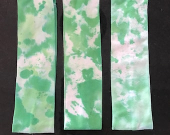 Green and White Tie Dyed 2-Inch Headband
