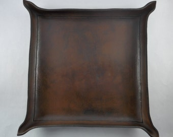 Leather Valet Tray - Leather Catchall - Full Grain Leather Tray