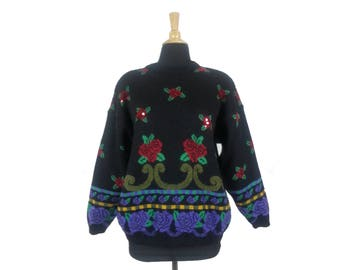 Vintage 80s Sweater with Sequined Roses Floral Flowers Black Pullover Loose Slouchy Fit 1980s Womens Clothing Baggy Medium Patterned Retro