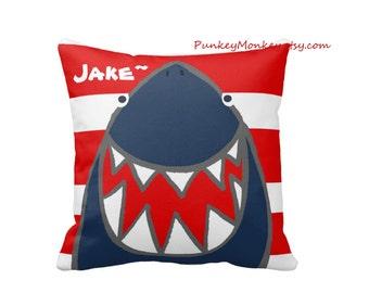 15x15 Striped or chevron Shark square pillow toss pillow beach theme ocean fish surf sharks beach decor kids room personalized