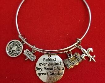 Silver Boy Scout Leader Charm Bracelet