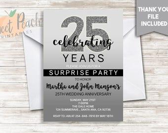 Th wedding anniversary invitation silver anniversary party