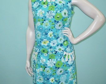 """Vintage 60s The Lilly Dress . Lilly Pulitzer Blue Green Floral Print Shift Sun Dress . M L . 42"""" Bust 36"""" Waist"""