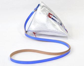 Soyuz - Handmade Metallic Silver Leather Shoulder Bag Purse SC16