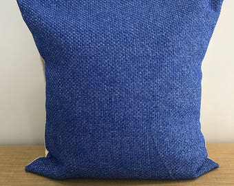 "Blue basketweave style textured cushion cover throw pillow. 18"" (45cm). Made Australia. Cushion covers Australia"