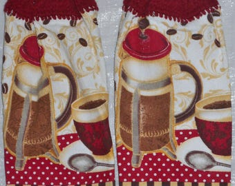 Set of two coffee pot set kitchen towels