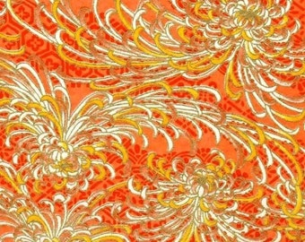 Chiyogami or yuzen paper - springy gold mums on peach sherbet, 9x12 inches