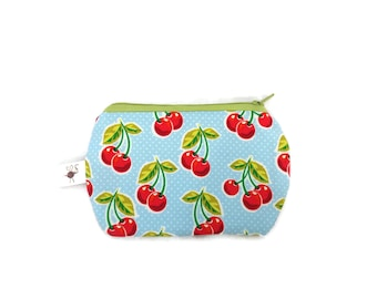 Mini Zipper Pouch Cherries on Light Blue Background Stitch Marker / Coin Purse / Small Sewing Case Zipper Storage Pouch S349