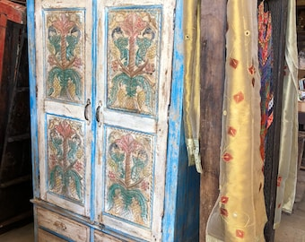 Conscious Design Antique Cabinet Floral Carved Blue Chest Rustic Furniture Armoire with Drawers Farmhouse Decor Limited Time Free Shipping