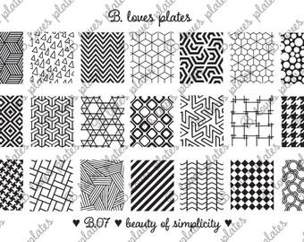 B.07 - beauty of simplicity - nail stamping plates (B. Loves Plates )