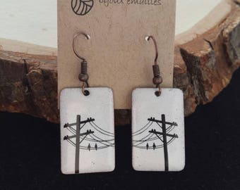 Earrings, birds, birds on wire, enamel on copper, recycled, hand made, white, one of a kind, hand painted ,electric wire, gift, nature