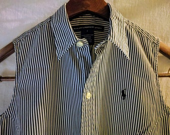 RALPH LAUREN SPORT size 4 Vintage 90s Sleeveless button down blouse Navy White Ticking Stripe