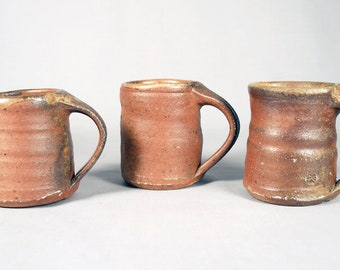 4 Dick Cooter studio pottery coffee cups, Wood fired, stoneware