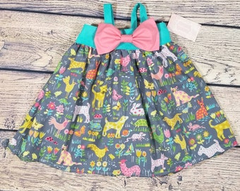 Spring dress- toddler animal dress- toddler spring dress- zoo dress- zoo outfit- zoo birthday dress - spring animal dress- animal outfit