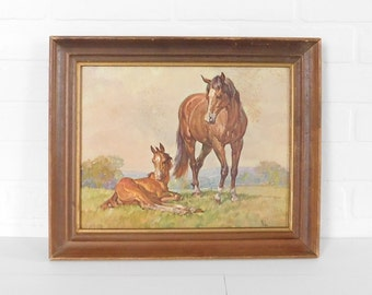 "Vintage Wood Frame Horse Print by ""Elmore Brown"" Winde Fine Prints, Framed Horse Picture"