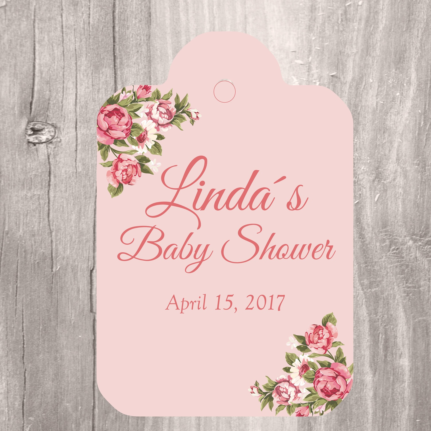 Printable Favor Tags Personalized Pink Roses Baby Shower