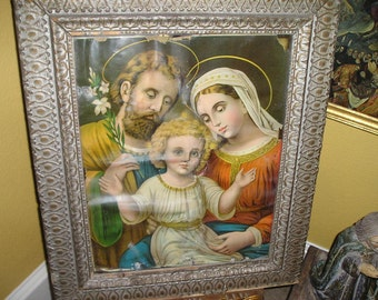 Antique Religious Church Chapel Dilapidated Wall Hanging/framed Picture Of The Holy Family French Estate Chapel Icon