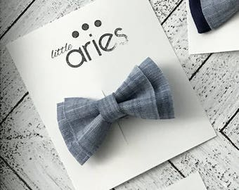 Double Layered Denim Bow tie - Baby boy bow tie - blue bow tie - first birthday bow tie - newborn pictures - cake smash - ring bearer