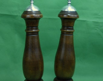 Vtg Woodcrest by Styson Wooden Salt Shaker and Pepper Mill Metal Tops Made in Japan