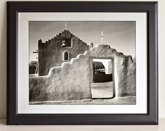 Taos new mexico etsy new church taos pueblo new mexico by ansel adams 11x14 unframed print native american solutioingenieria Images