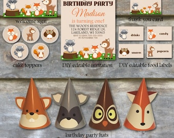 Woodland Birthday Party Package - Woodland Animal Birthday Party Package, Printable Birthday Party Package, Woodland Birthday Package - DIY