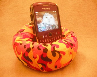 Cell Phone Bean Bag Chair or Kindle Kouch (eReader Rest) Orange Gold Red Yellow and Black Flames