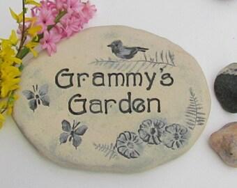"""Personalized Grammy gift, Grammy garden  stone. Mother's Day gift for Grammy. Grammy's Garden sign.  """"Grammy's Garden"""" plaque."""