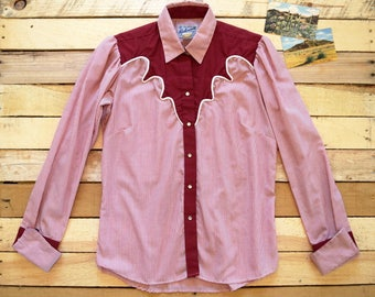 70s ROCKMOUNT Women's Large Rockmount Ranch Wear Western Pearl Snap Blouse Red White Candy Stripe Cowgirl Shirt French Cuffs