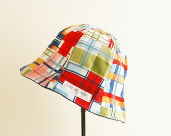 Boys sun hat, baby sun hat, baby boy sun hat,  sun hat, summer hat - madras check patchwork print - made to order