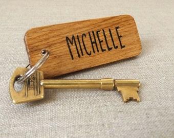 Personalised Keyring - Oak Wood Keyring - Personalised gift - Personalised name keyring - keychain - key fob - Gift for her - Gift for him