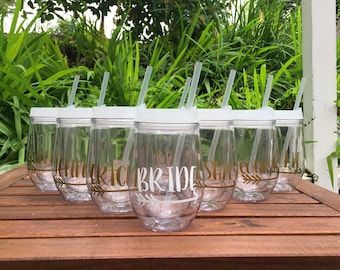 Personalized Wine Tumblers, Bridal Party Gift, Bachelorette Party, Bridesmaid, Bride Tribe, Team Bride, Bachelorette, Stemless Wine Tumbler