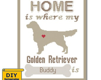 Golden Retriever Cross Stitch Pattern Home is where my Retriever is Customizable Name Pet Dog cross stitch modern trendy gift Silhouette