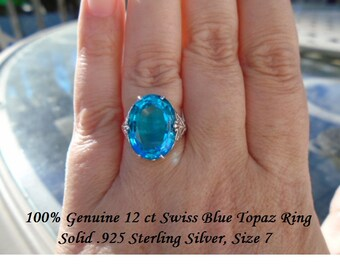 Genuine 12 ct Swiss Blue Topaz Ring