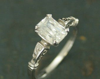 White Gold Engagement Ring - White Gold Ring - Emerald Cut Ring - Vintage Style Ring - Octagon Cut Ring - Charles and Colvard Moissanite