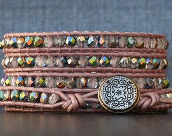 wrap bracelet blush pink leather with iridescent crystal - soft pink, baby pink